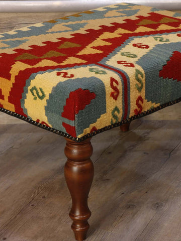 Bold geometric multicoloured foot stool 60 x 45cm - (2'0 x 1'6)