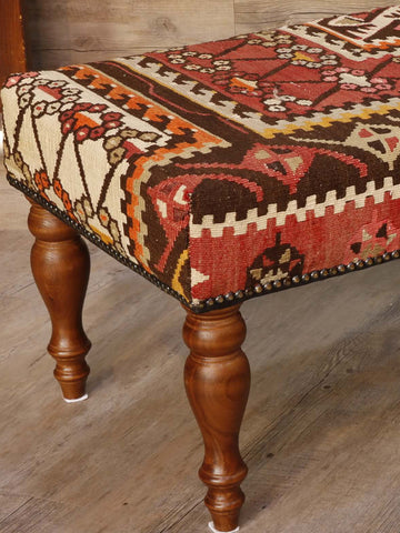 soft, muted, old Anatolian kilim covered bench stool 102 x 46cm - (3'4 x 1'6)