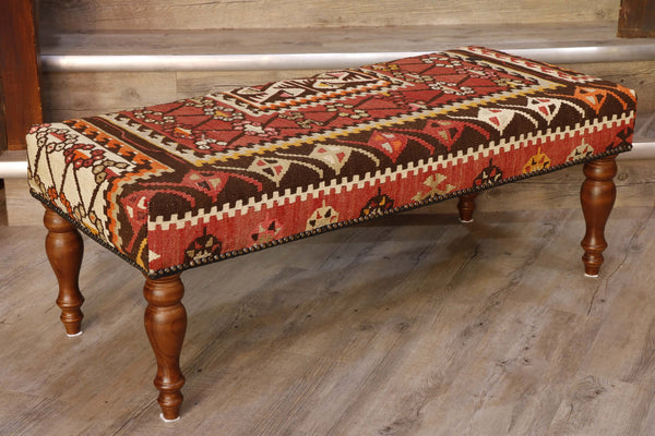 Turkish kilim covered bench - 296214