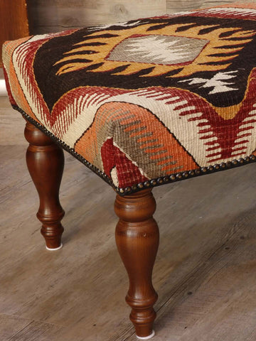 bench stool covered in old Anatolian kilim 102 x 46cm -(3'4 x 1'6)