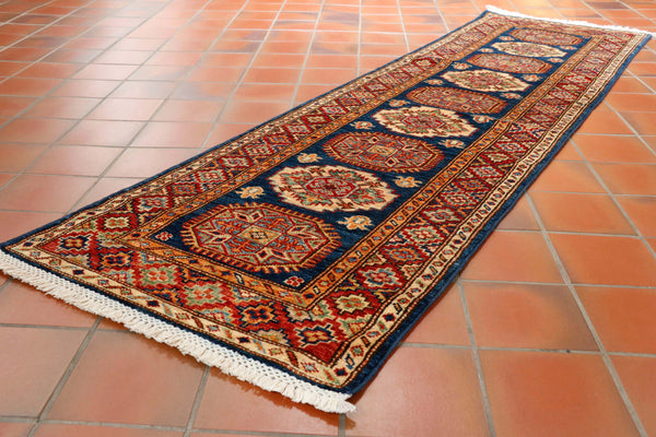 Afghan Kazak runner with dark blue background and red and gold colourings 210 x 60cm - (6'11 x 2'0)