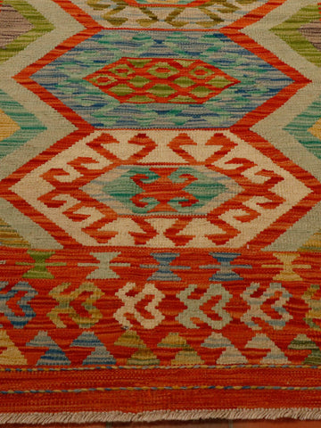 Terracotta, green and turquoise Afghan kilim 180 x 124cm - (5'11 x 4'1)