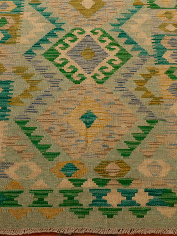Afghan kilim with greens of different shades 192 x 133cm - 6'4 x 4'4