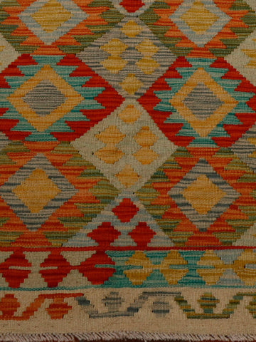 lovely multi coloured Afghan kilim 186 x 120cm - (6'1 x 3'11)