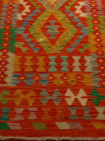 vibrant flame coloured kilim 180 x 126cm - 5'11 x 4'2