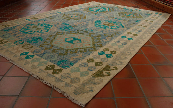 Mainly blues, grey and green colours in this Afghan kilim 244 x 169cm	- 8'0 x 5'7