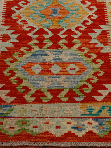 terracotta and green Afghan kilim 150 x 100cm - 4'11 x 3'3