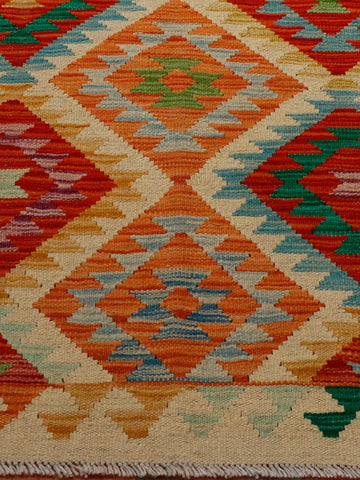 colourful geometric Afghan kilim 143 x 98cm - 4'8 x 3'3