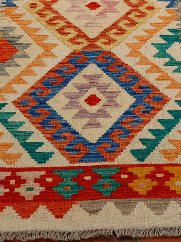 multi coloured Afghan kilim 150 x 100cm - 4'11 x 3'3