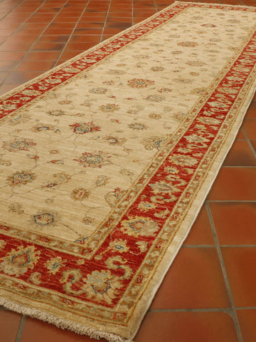 Extra fine Afghan Ziegler runner with silk highlights - 306309