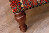 Old Soumak kilim covered bench stool - 306812