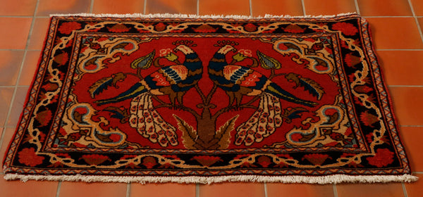 The fringe is on the sides rather than the ends and the subject matter of a pair of peacocks is very rare.   The background colour is a rusty red with striking blues and greens in the decoration.  A rug with this sort of design will make a wonderful wall hanging instead of a picture.