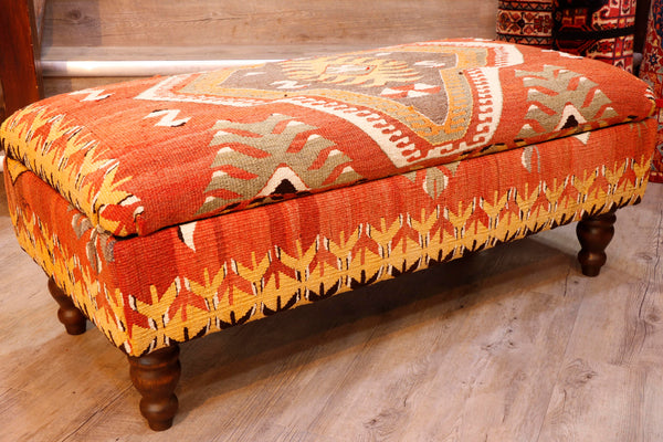 Turkish Kilim covered ottoman - 307085