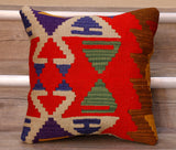 The pieces are often salvaged from old Turkish kilim so the pattern may be cut in unusual and interesting ways.  The decoration is made up of geometric shapes. The brightly coloured Kilim has touches of vibrant reds, browns, blues, purples and greens which contrast against the other colours on the facing side, whereas the back of the cushion is Faux suede or cotton.
