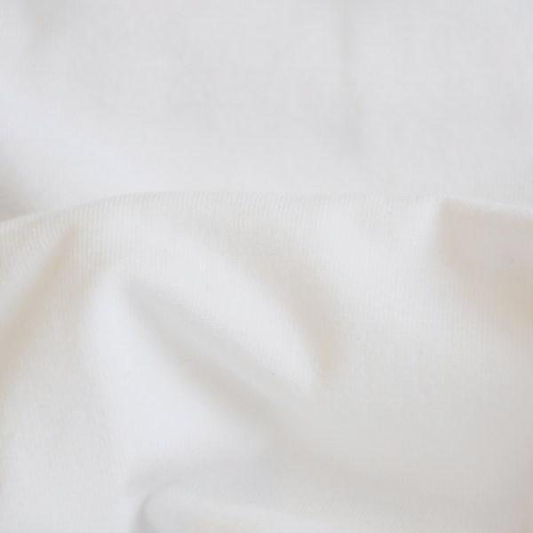 Bamboo Cotton Fabric Washed Rib 1X1 White 12-12.5 oz