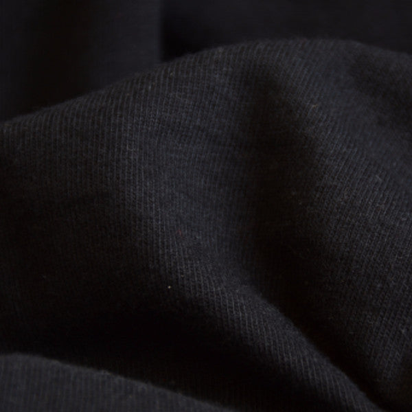 Organic Cotton Fabric Washed Jersey Black 8.5-9 oz