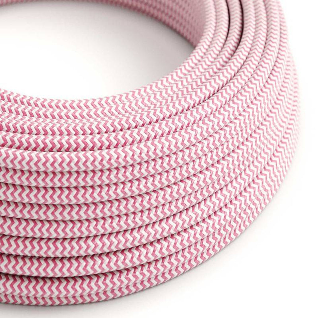 Eddie & Sons Round Fabric Cable - Fuscia Pink + White Striped (5 Meter Length)