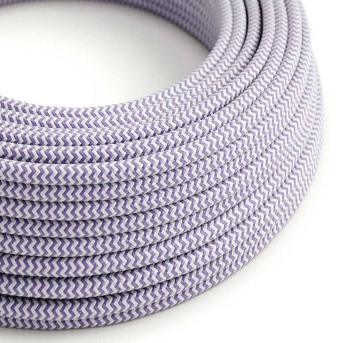 Eddie & Sons Round Fabric Cable - Lavender and White Stripes (5 Meter Length)