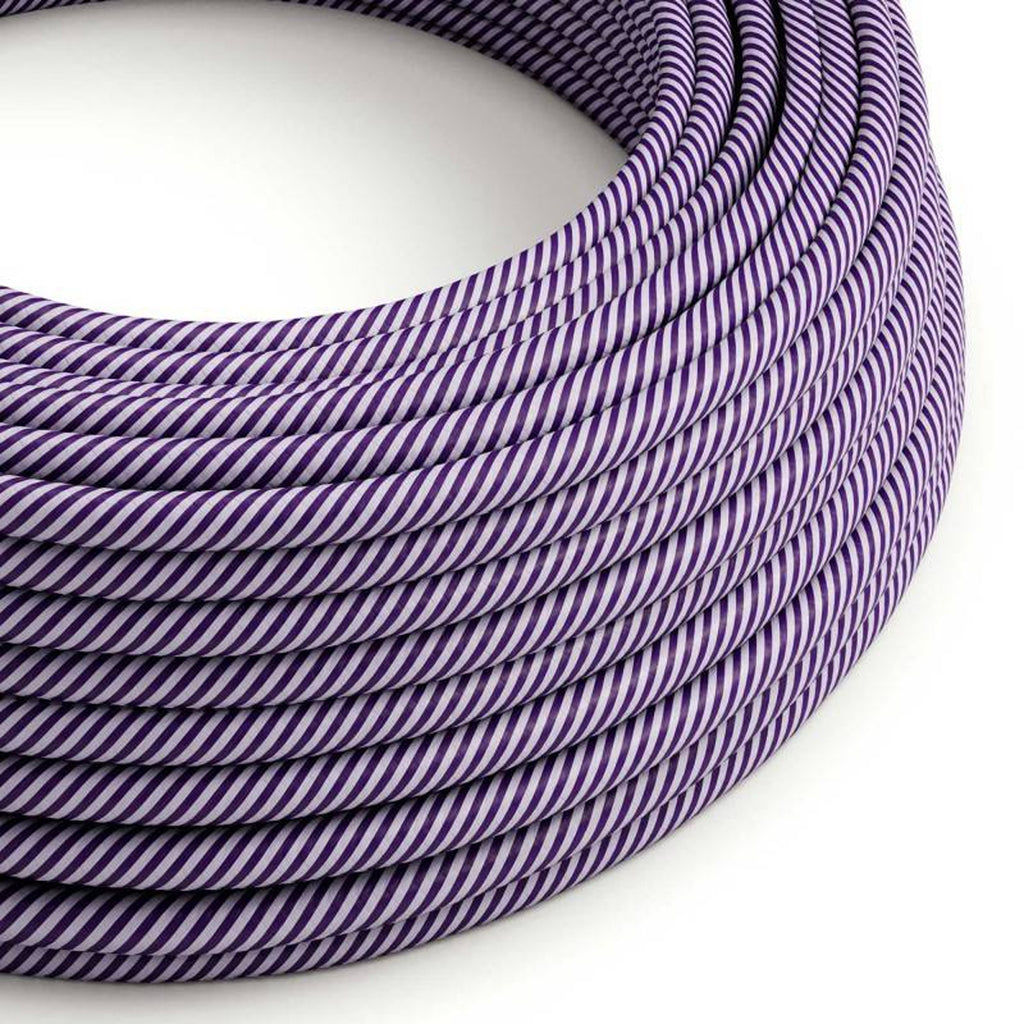Eddie & Sons Round Fabric Cable - Lilac and Violet Stripes (5 Meter Length)