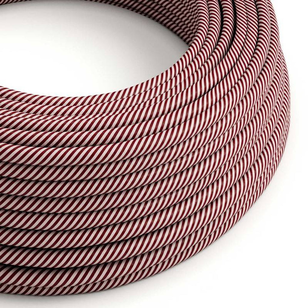 Eddie & Sons Round Fabric Cable - Maroon Stripes (5 Meter Length)