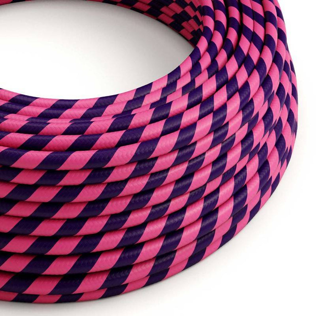 Eddie & Sons Round Fabric Cable - Purple and Pink Wide Stripes (5 Meter Length)