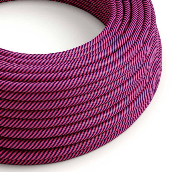 Eddie & Sons Round Fabric Cable - Purple and Pink Stripes (5 Meter Length)