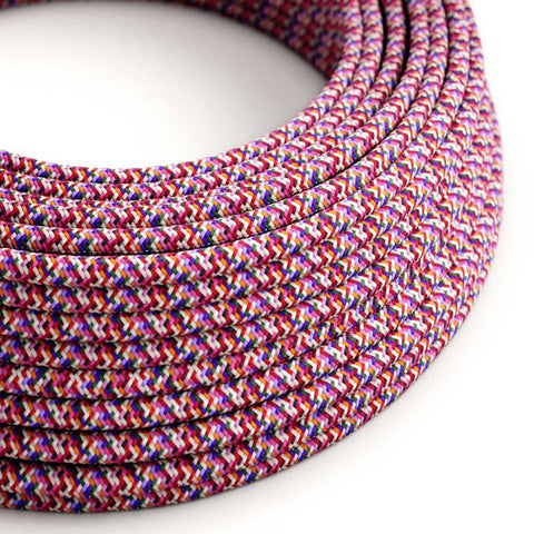 Eddie & Sons Round Fabric Cable - Pixel Fuscia (5 Meter Length)