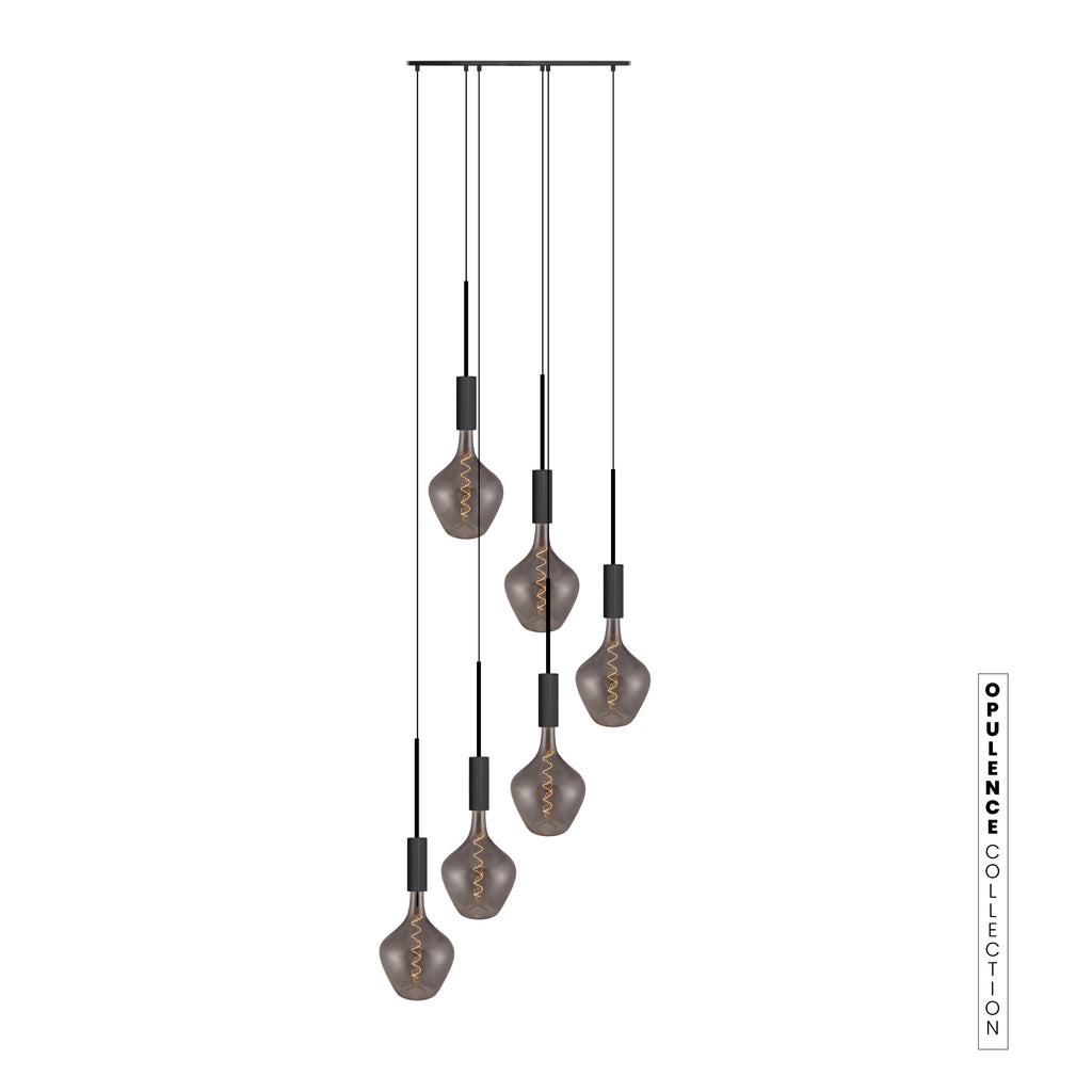 Opulence Collection - 6 Drop Noir Cluster with DemiJohn Grande Smoked Glass LED Bulbs