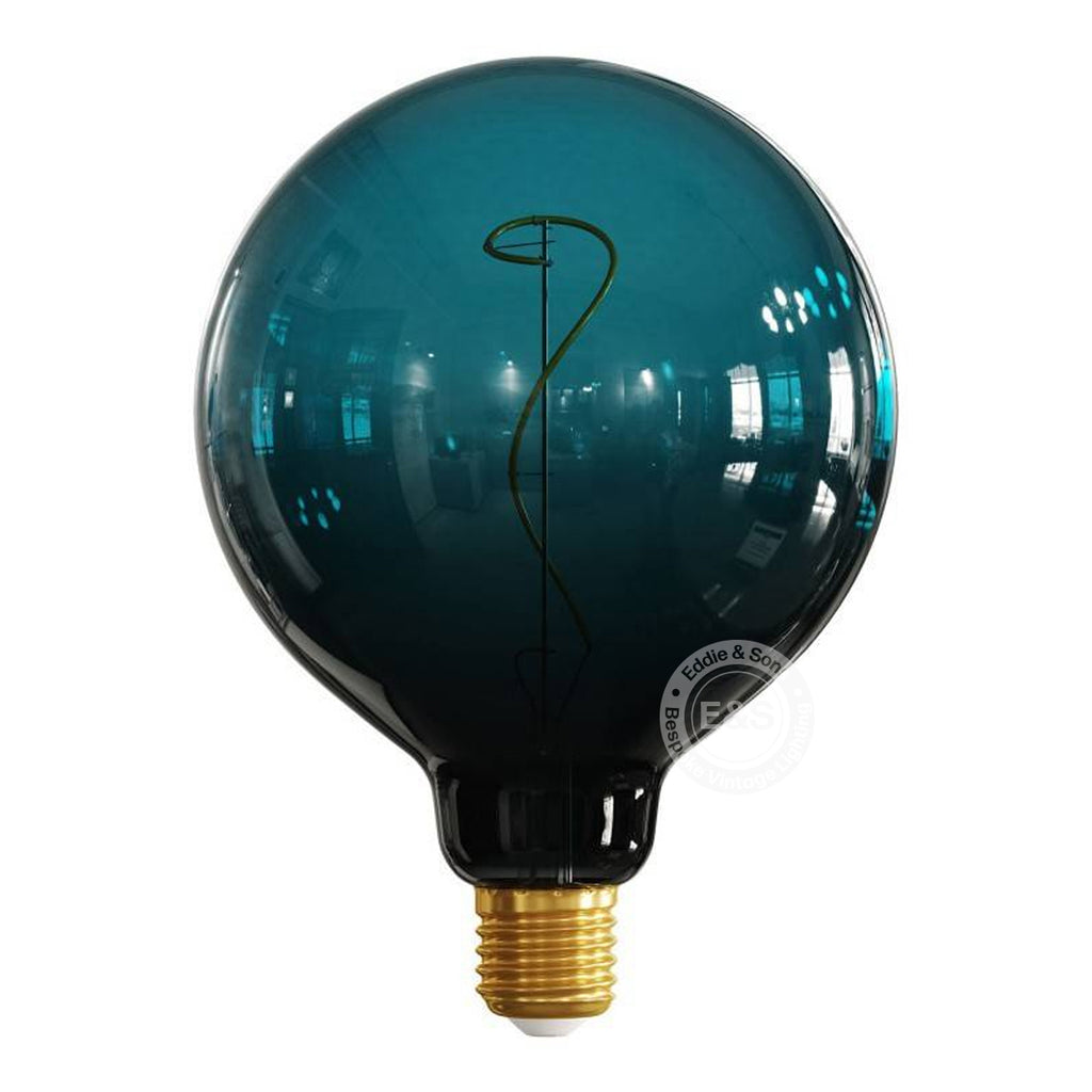 G125 Globe Dark Blue Pastel Gradient Light Bulb, 4W E27 Dimmable 2200K