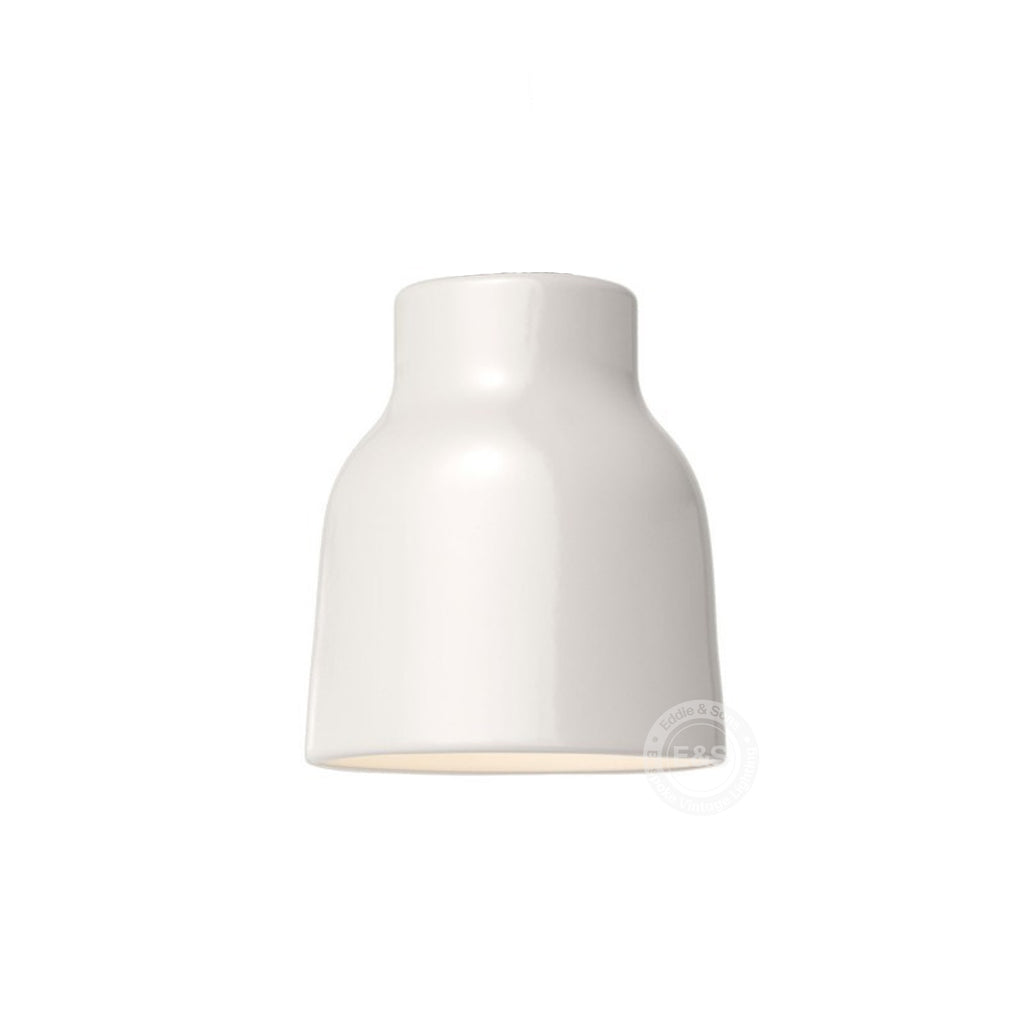 Ceramic Bell Shade, glossy white with polished white interior, Made in Italy