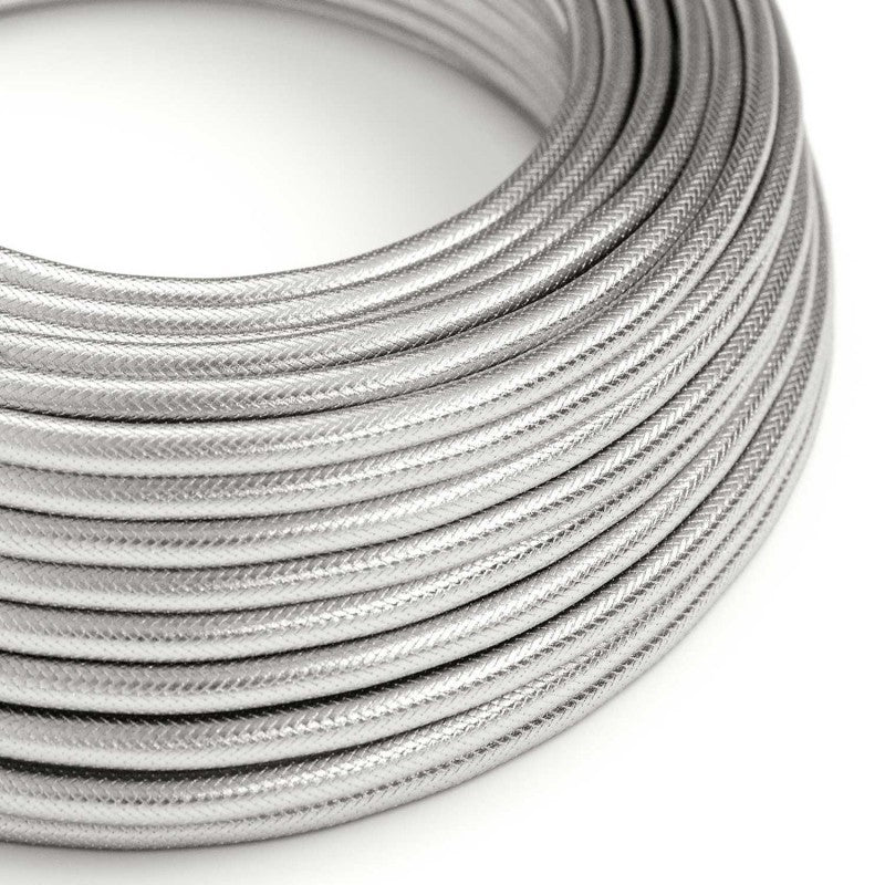 Eddie & Sons Round Fabric Cable - Silver (5 Meter Length)