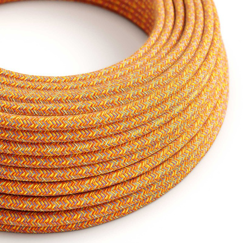 Eddie & Sons Round Fabric Cable - Summer Orange (5 Meter Length)