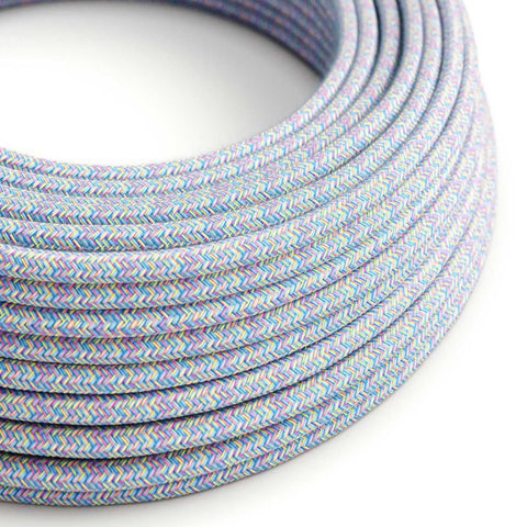 Eddie & Sons Round Fabric Cable - Rainbow Blue (5 Meter Length)