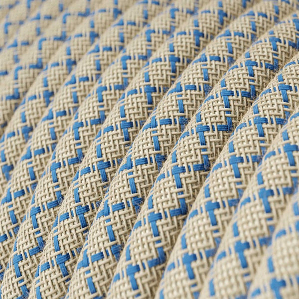 Eddie & Sons Round Fabric Cable - Cream & Blue Diagonal (5 Meter Length)