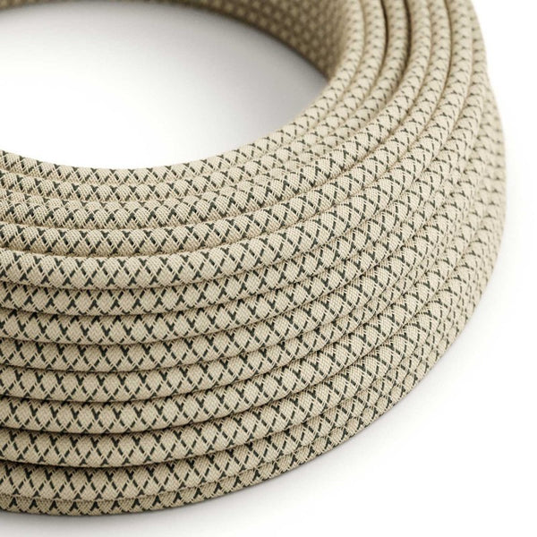 Eddie & Sons Round Fabric Cable - Cream & Anthracite Diagonal (5 Meter Length)