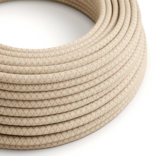 Eddie & Sons Round Fabric Cable - Cream & Prink Diagonal (5 Meter Length)