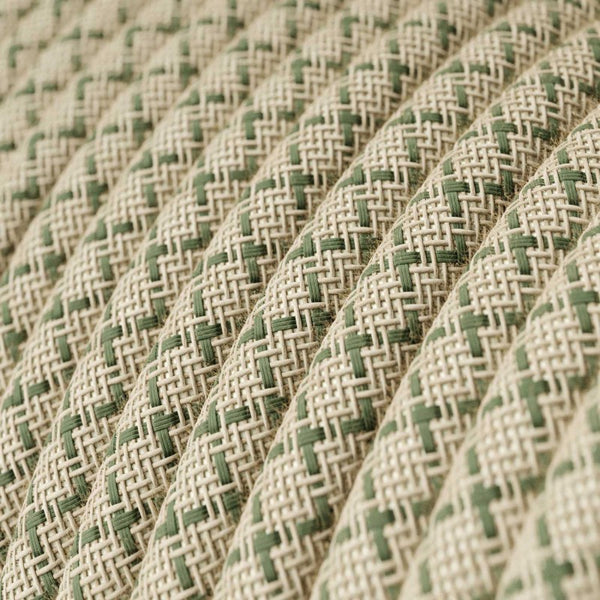 Eddie & Sons Round Fabric Cable - Cream & Green Diagonal (5 Meter Length)