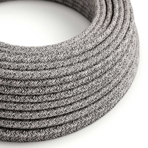 Eddie & Sons Round Fabric Cable - Black & Tweed Cotton (5 Meter Length)