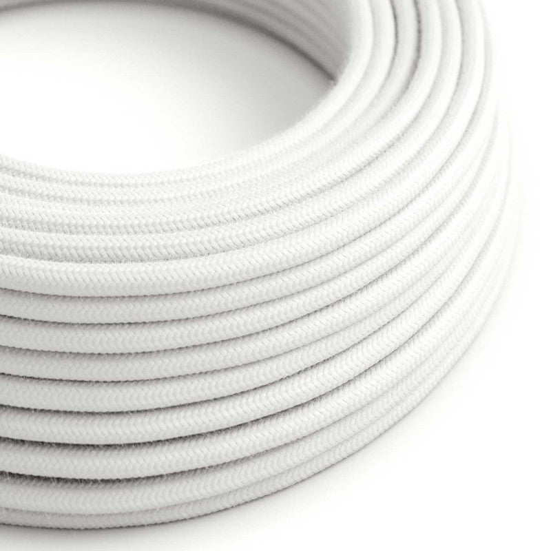 Eddie & Sons Round Fabric Cable - White Cotton (5 Meter Length)