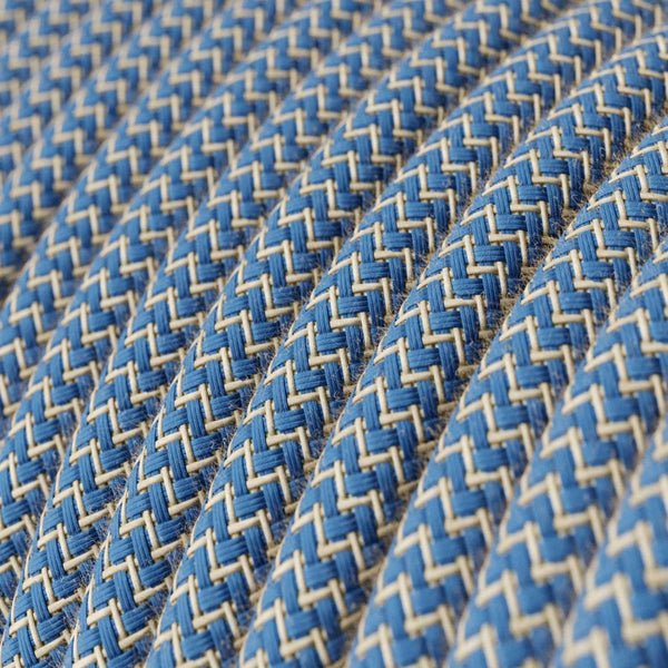 Eddie & Sons Round Fabric Cable - Duck Egg Blue Zig Zag (5 Meter Length)
