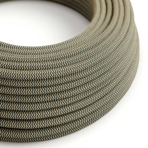 Eddie & Sons Round Fabric Cable - Anthracite Zig Zag (5 Meter Length)