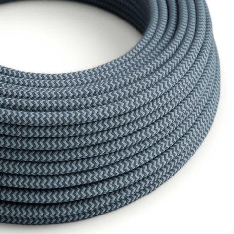 Eddie & Sons Round Fabric Cable - Ocean Blue Zig Zag (5 Meter Length)