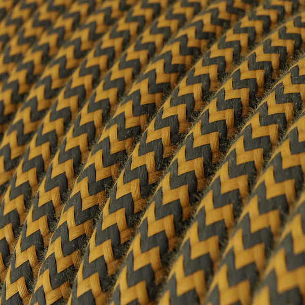 Eddie & Sons Round Fabric Cable - India Yellow Zig Zag (5 Meter Length)