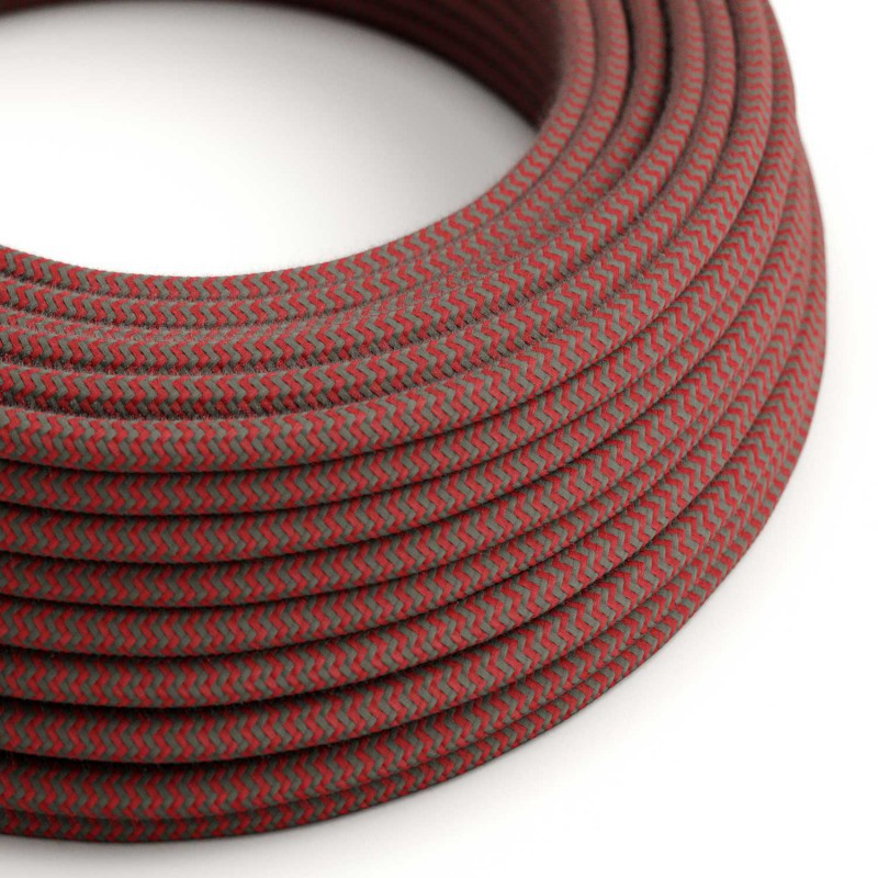 Eddie & Sons Round Fabric Cable - Red & Grey Zig Zag (5 Meter Length)