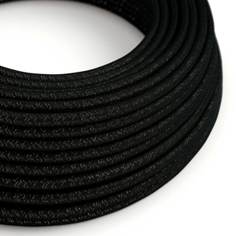 Eddie & Sons Round Fabric Cable - Black Glitter (5 Meter Length)