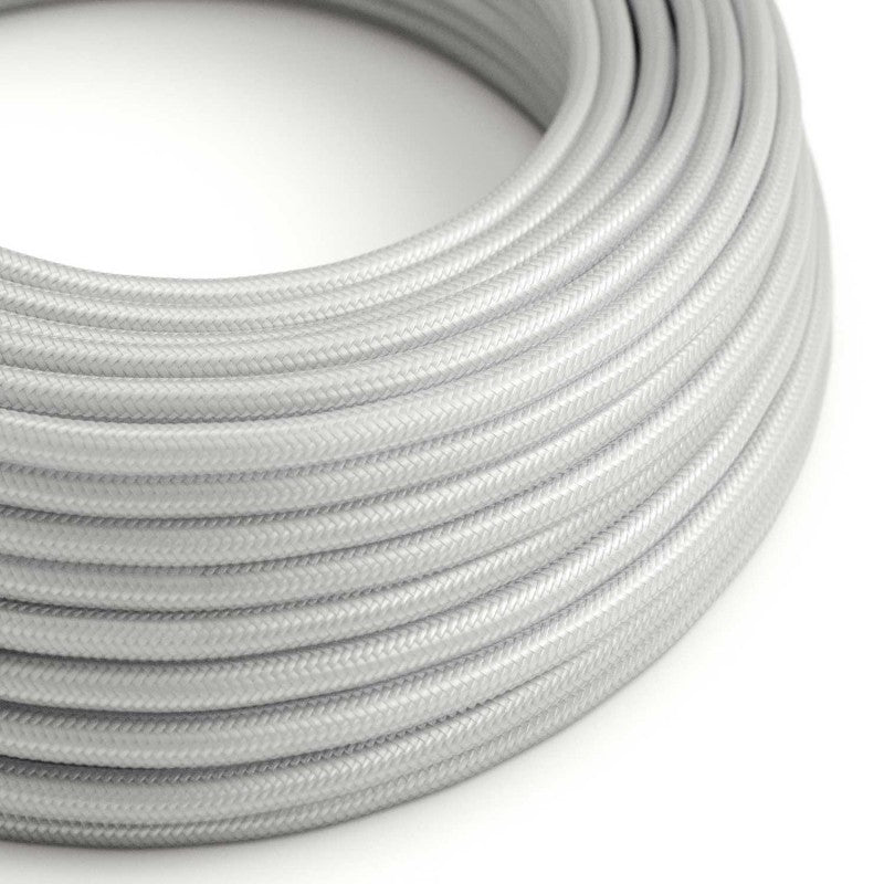 Eddie & Sons Round Fabric Cable - White Satin (5 Meter Length)