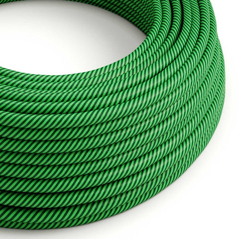 Eddie & Sons Round Fabric Cable - Racing Pea Stripe (5 Meter Length)