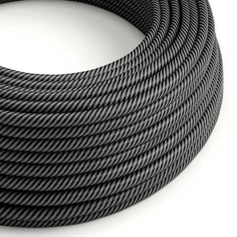 Eddie & Sons Round Fabric Cable - Graphite Stripe (5 Meter Length)