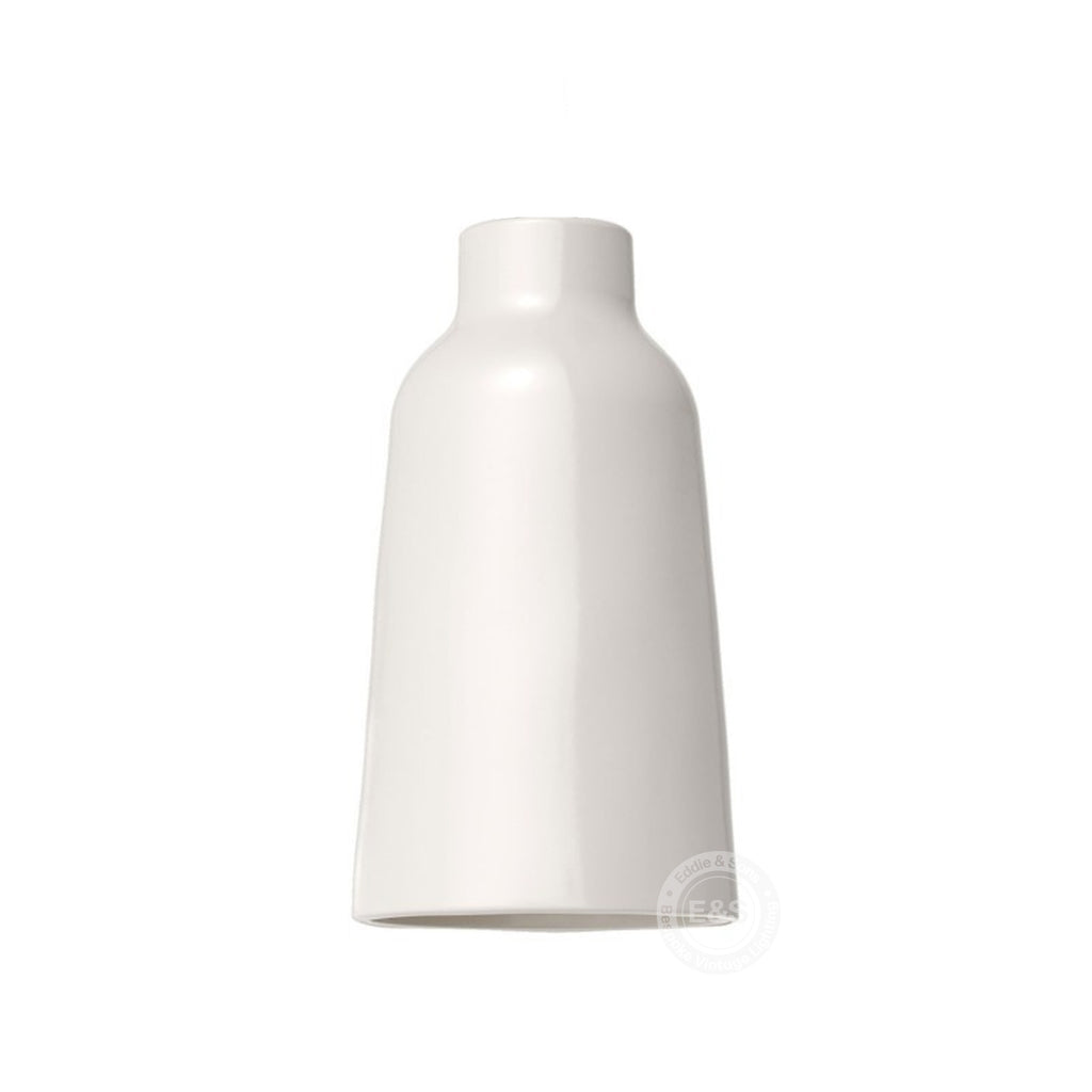 Ceramic Vase Shade, glossy white with polished white interior, Made in Italy