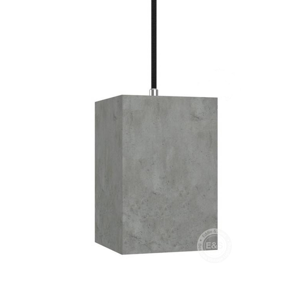 Cube cement lampshade with cable retainer and E27 lamp holder